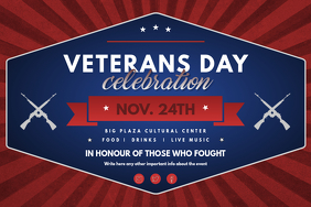 Blue and Red Veteran's Day Landscape Poster