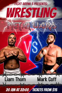 Blue and Red Wrestling Poster
