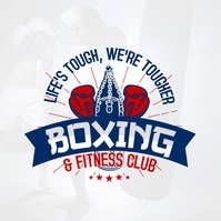 Blue and Silver Boxing Fitness Club Logo Temp Логотип template
