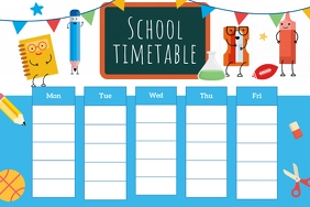 Blue and White Animated School Timetable