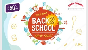 Blue and White Back to School Sale Facebook C template