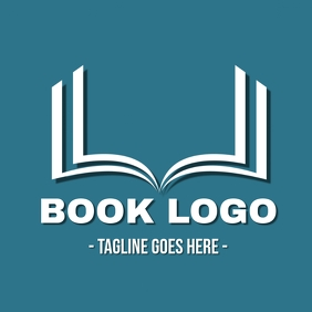 Blue and white Book logo
