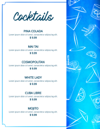 Blue and White Cocktails Menu Template