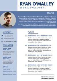 blue and white curriculum vitae design templa