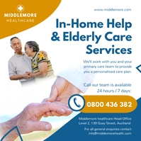 Blue and White Elderly Home Care Instagram po template