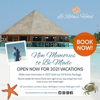 Blue and white hotel promo Instagram post template