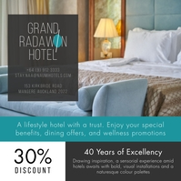 Blue and white hotel room promo Instagram pos template