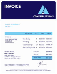 Blue and White Invoice Sample