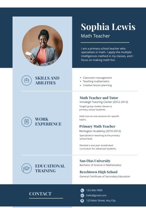 Blue And White Modern Resume Template Postermywall
