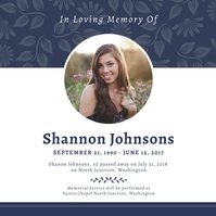 Blue and white obituary instagram image post Instagram-bericht template