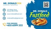 Blue and White Restaurant Business Card Desig Visitenkarte template