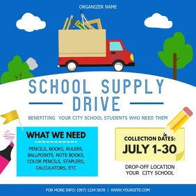 Blue and White School Supply Drive Square Vid template
