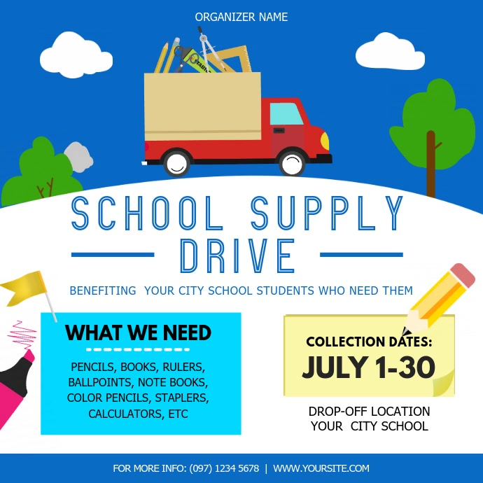 Blue and White School Supply Drive Square Vid