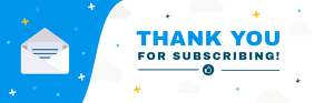 Blue and White Subscription Email Header Intestazione e-mail template