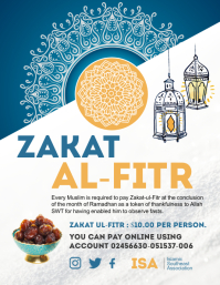 Blue and white zakat collection flyer ใบปลิว (US Letter) template