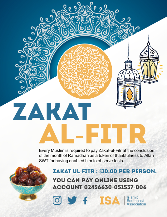 Blue and white zakat collection flyer template