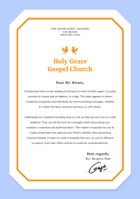 Blue and Yellow Bordered Church Letterhead