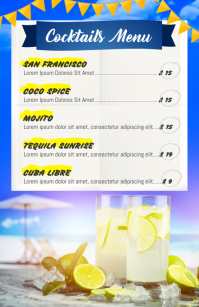 Blue and Yellow Cocktail Menu Half Page Wide template