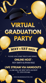 Blue and yellow Grad party for school Pantalla Digital (9:16) template