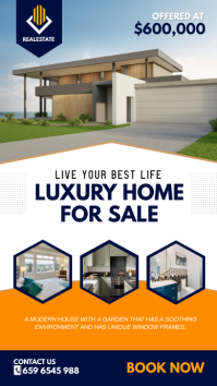 Blue and Yellow Real Estate Instagram Story D template