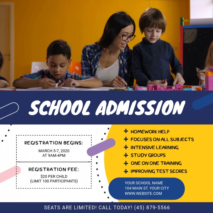 Blue and Yellow School Admission Square Video
