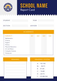 Blue and Yellow School Report Card A4 template
