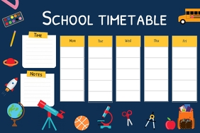 Blue and Yellow School Timetable Landscape Po