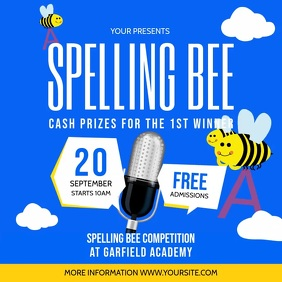 Blue and Yellow Spelling Bee Contest Sqaure V