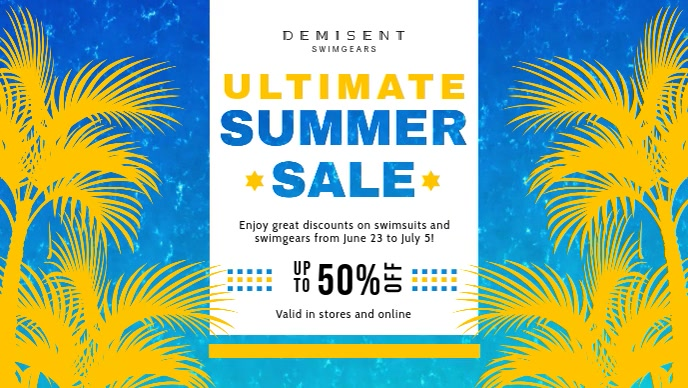 Blue and Yellow Summer Sale Banner