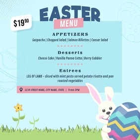 Blue Animated Easter Menu Square Video template