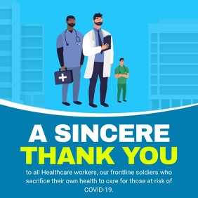 Blue Animated Thank You Doctors Square Video template