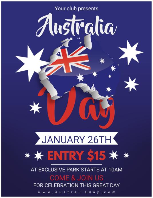 Blue Australia Day Poster Template Volante (Carta US)