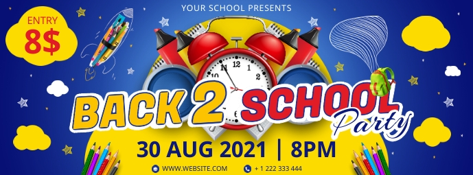 Blue back to school party banner invitation Facebook Cover Photo template