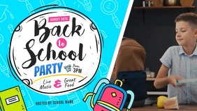 Blue Back to School Party Facebook Cover Vide