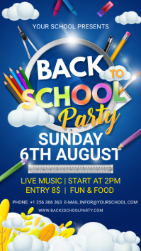 Blue back to school party Instagram story tem template
