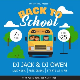 Blue Back to School Party Square Video