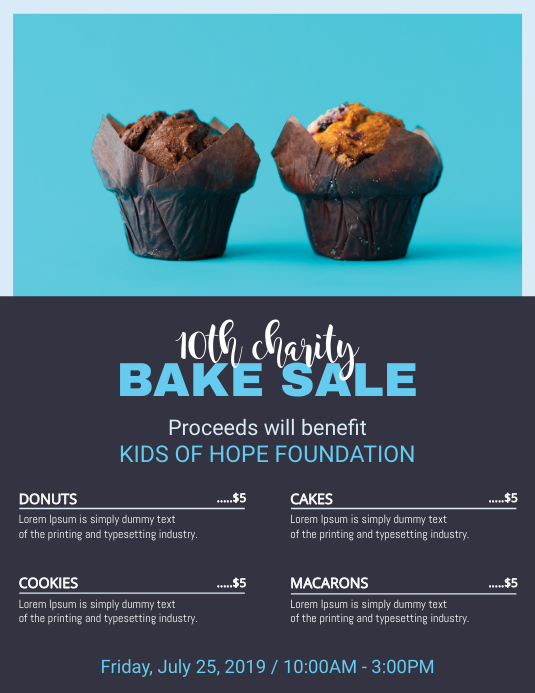 Blue Bake Sale Price List Flyer Templates