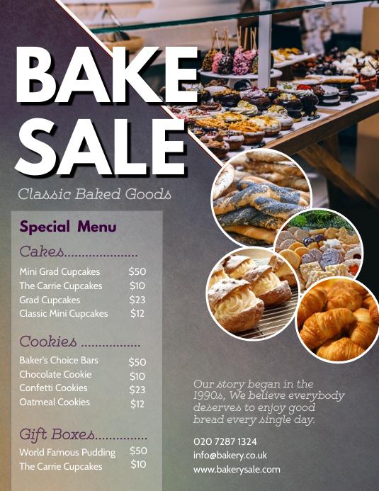 Blue Bake Sale Price List Flyer Templates