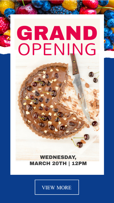 Blue Bakery Grand Opening Instagram Story
