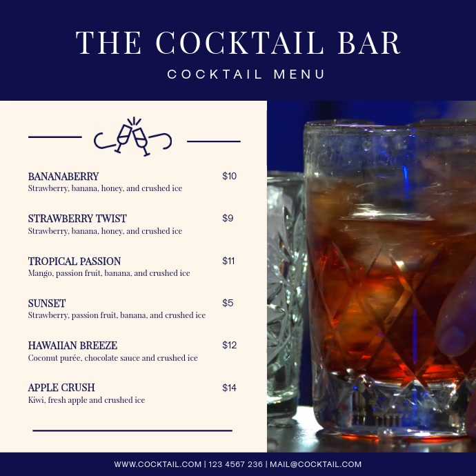 Blue Bar Cocktail Menu Square Video Isikwele (1:1) template