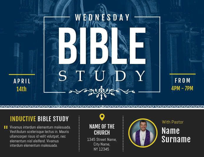 Blue BIble Study Church Landscape Flyer