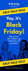 Blue Black Friday Sale Retail Banner Cartel enrollable de 2 × 5 pulg. template