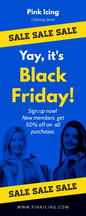 Blue Black Friday Sale Retail Banner template