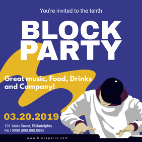 Blue Block Party Rave Invitation