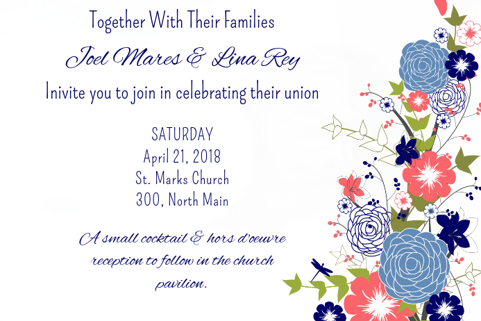 Blue Blooms Side Invite