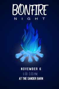 Blue Bonfire Poster template