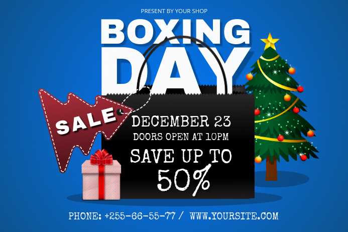Blue Boxing Day Landscape Poster template
