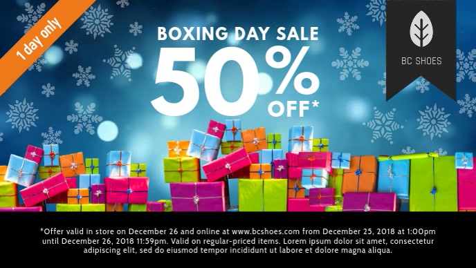 Blue Boxing Day Retail Video Banner