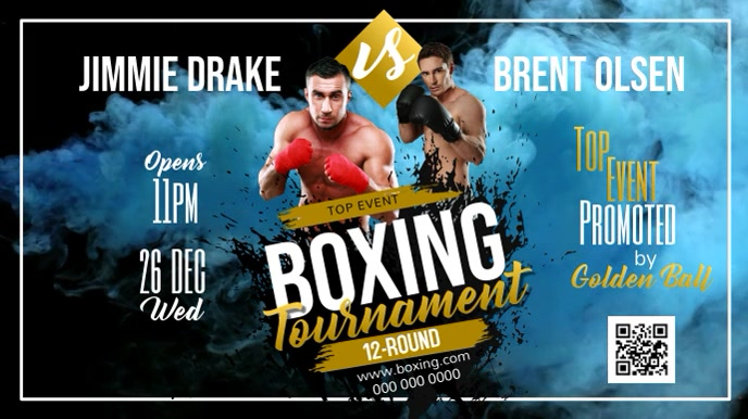 Blue Boxing Tournament Digital Display Video template