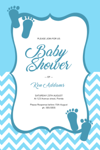Blue Boy Baby Shower Invitation Template